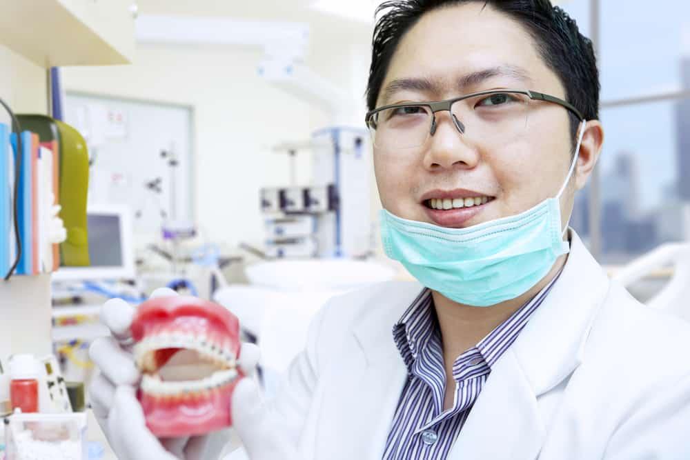 Dentist showing set of fake teeth - Brentwood Dental