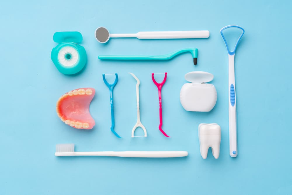 Dental Products on blue table top - Brentwood Dental